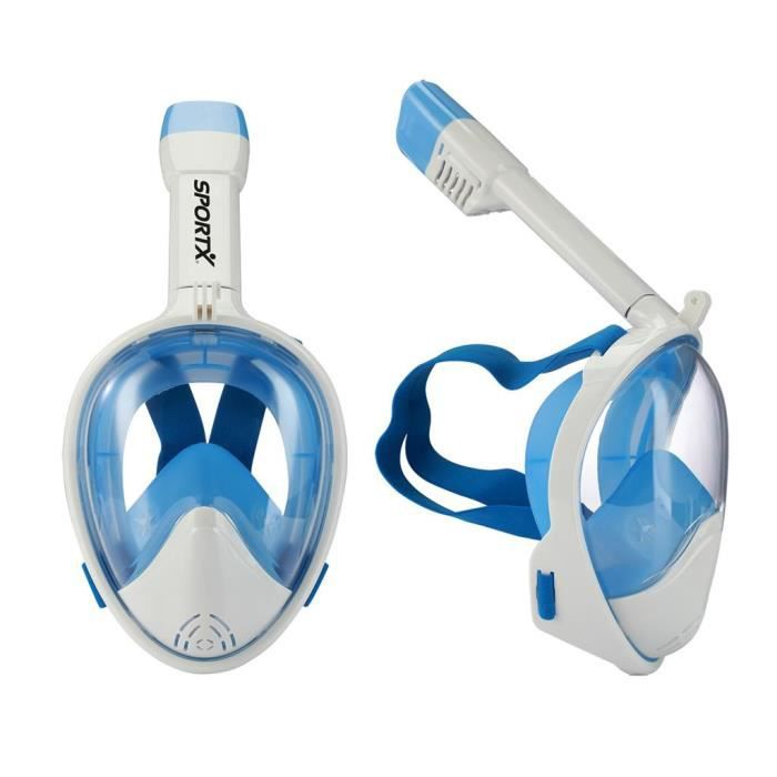SportX Masque de Tuba Complet Bleu Taille S//M Masque de Plongée Natation