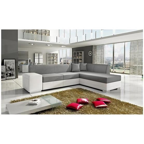 canap d 39 angle convertible napa gris et blanc angle droit achat vente canap sofa divan. Black Bedroom Furniture Sets. Home Design Ideas