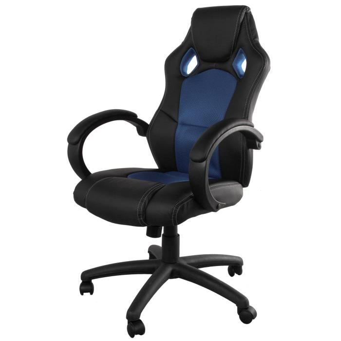 montecarlo fauteuil de bureau gamer sur roulettes en simili noir et bleu avec dos imprim. Black Bedroom Furniture Sets. Home Design Ideas