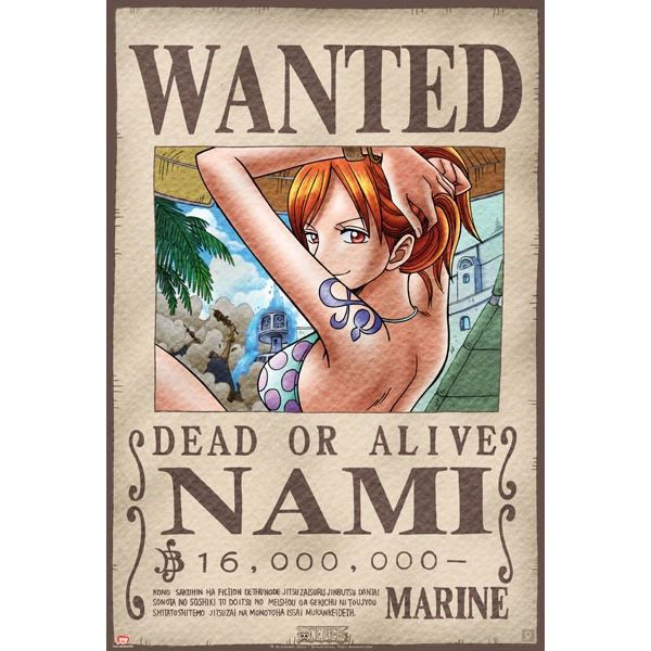 Poster one piece 39 wanted nami 39 52x38cm achat vente - One piece wanted poster ...