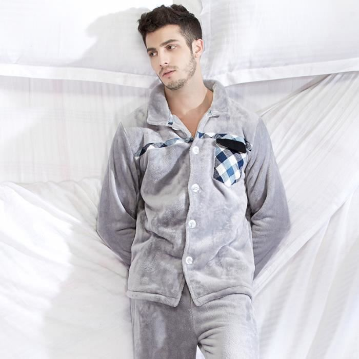 pyjama polaire homme long gris quadrilage achat vente. Black Bedroom Furniture Sets. Home Design Ideas