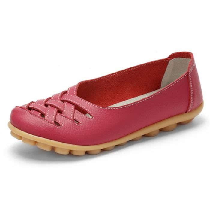 Chaussures Femmes ete Loafer Ultra Leger plate Chaussures DTG-XZ053Rouge41