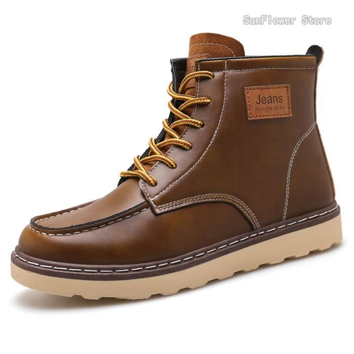 Martin Hommes cuir synthétique Chaussures Bottes Hommes - Marron