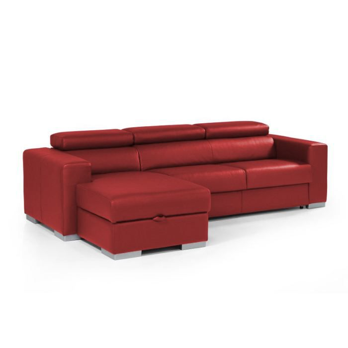 canap convertible angle torino cuir recycle rouge achat. Black Bedroom Furniture Sets. Home Design Ideas