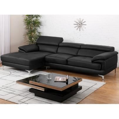 canap d 39 angle cuir volupto noir angle gauche achat vente canap sofa divan cuir. Black Bedroom Furniture Sets. Home Design Ideas