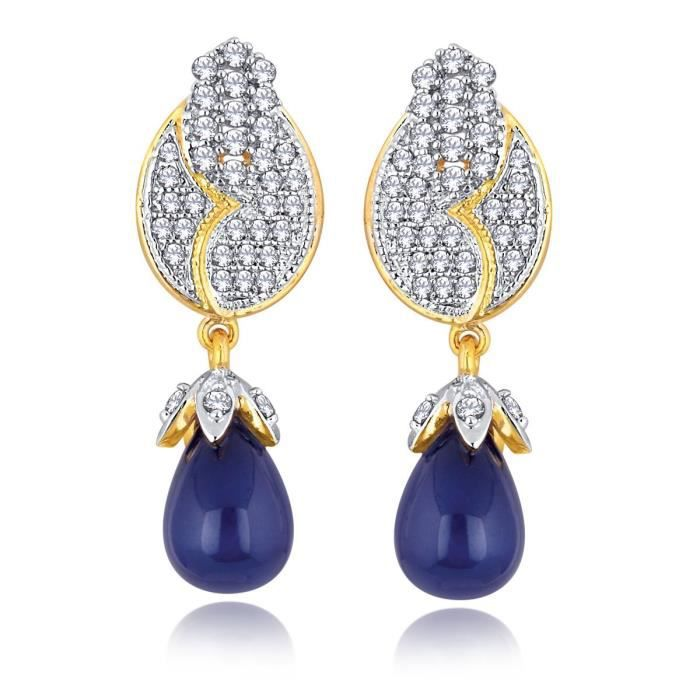 Womens Gold Plated Cz Stone Unique Style Purple Tear Drop Earring For Aler 5063 YBQC3