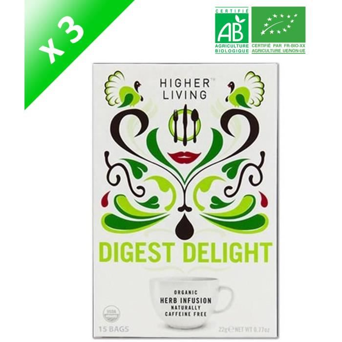 HIGHER LIVING Infusion Digestion Délice Bio - 22 g x3