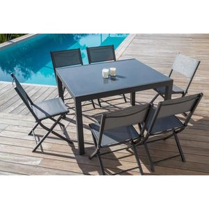 Awesome salon de jardin alu en solde contemporary for Table extensible resine