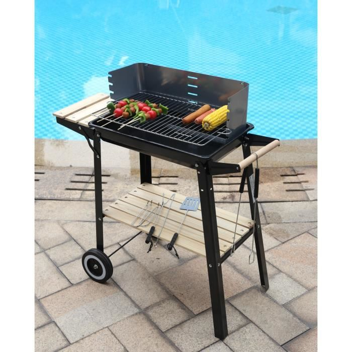 barbecue charbon chariot 52 5 x 32 5 cm achat vente barbecue barbecue charbon. Black Bedroom Furniture Sets. Home Design Ideas