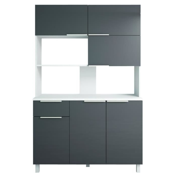 lova buffet de cuisine l 120 cm gris briillant achat vente buffet de cuisine buffet. Black Bedroom Furniture Sets. Home Design Ideas