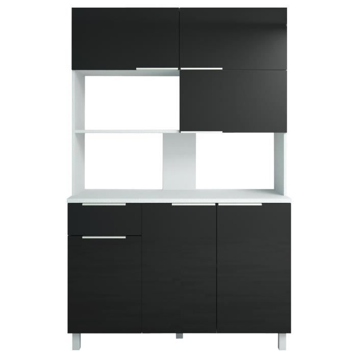 lova buffet de cuisine l 120 cm noir brillant achat. Black Bedroom Furniture Sets. Home Design Ideas