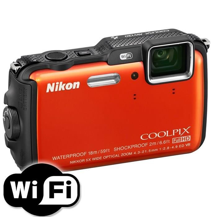 nikon coolpix aw120 compact tanche orange achat vente appareil photo compact cadeaux de. Black Bedroom Furniture Sets. Home Design Ideas
