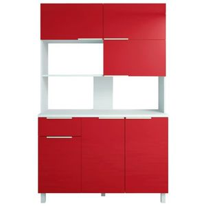 BUFFET DE CUISINE LOVA Buffet de cuisine contemporain rouge brillant