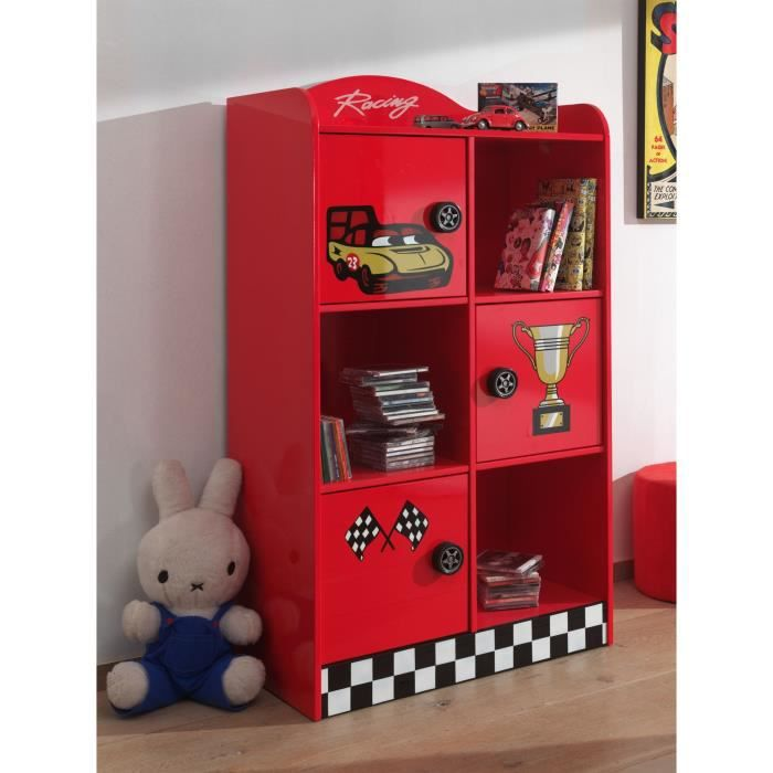 fun biblioth que racer rouge achat vente commode de chambre fun biblioth que racer bois. Black Bedroom Furniture Sets. Home Design Ideas
