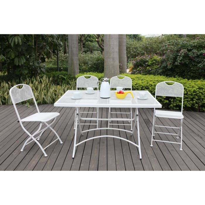 Finlandek ensemble table de jardin 120 4 chaises blanc for Ensemble table et chaise de jardin grosfillex