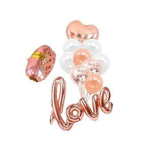 Banni/ère dor/éeTE AMO I Love You Kit D/écoration Ballons Saint Valentin ours et ballons coeur rouge p/étales de rose en soie rouge pour anniversaire de mariage