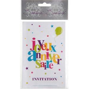 FAIRE-PART - INVITATION Carte invitation Joyeux Anniversaire festif (x6) R
