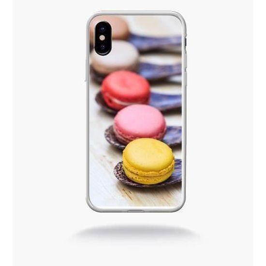 Coque smartphone - GOURMANDISE DE MACARON - compatible avec Apple iPhone X - Plastique - bord Transparent