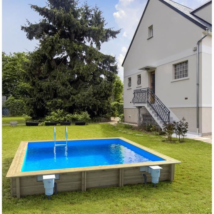 Weva piscine bois rectangle 4 5x3 m hauteur 1 20 m achat for Piscine jardin rectangle