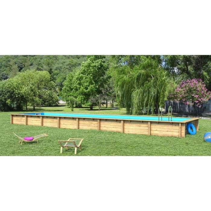 Weva piscine bois rectangle 12x3 m hauteur 1 46 m achat for Piscine jardin rectangle