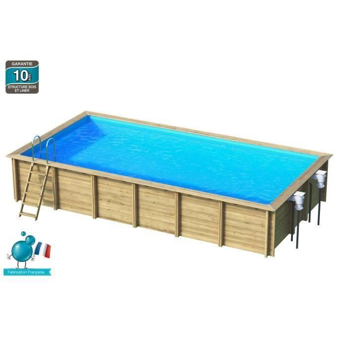 Weva piscine bois rectangle 8x4 m hauteur 1 46 m achat for Piscine carree semi enterree