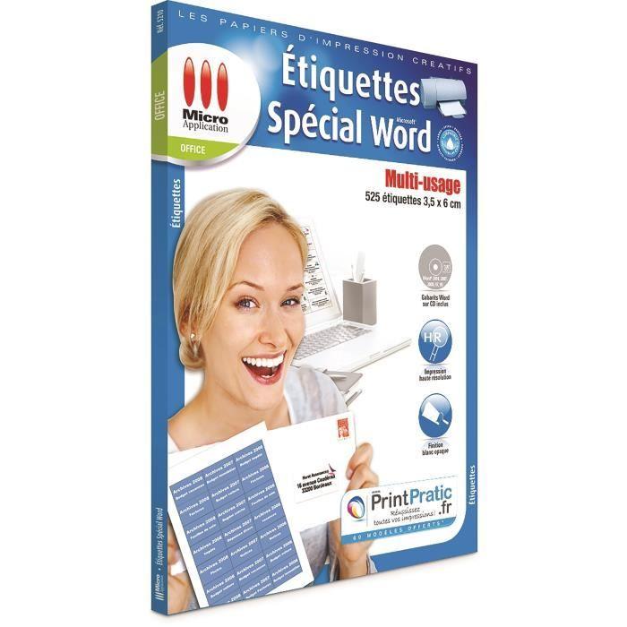 Pack de 525 etiquettes sur 25 feuilles spéciales word Micro Application MA-5210 format A4