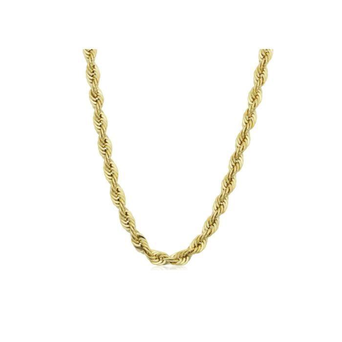 collier de chaîne de corde en argent sterling 3.2mm diamant coupé en plaqué or 18k en Italie? 1QIPB7