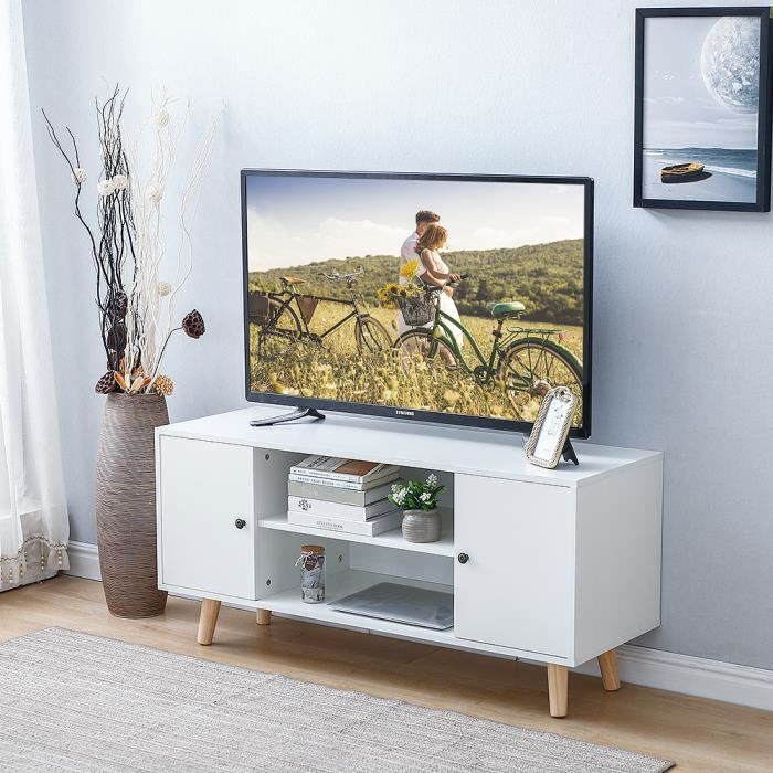 YIS Meuble TV Meuble de salon avec 2 Portes - Style Nordique - en MDF et Pieds en chêne massif - Blanc 116x 39.5x 53.5 cm