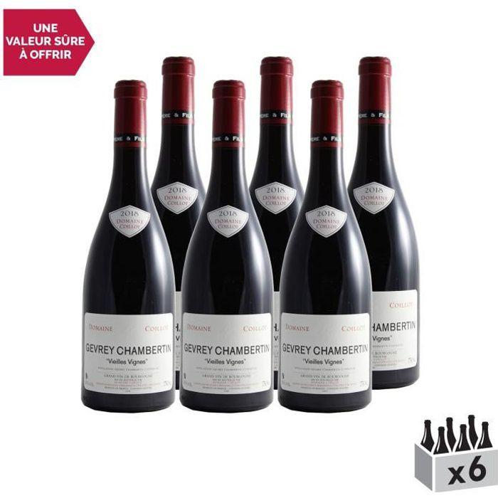 Gevrey-Chambertin Rouge 2018 - Lot de 6x75cl - Domaine Christophe Coillot - Vin AOC Rouge de Bourgogne - Cépage Pinot Noir