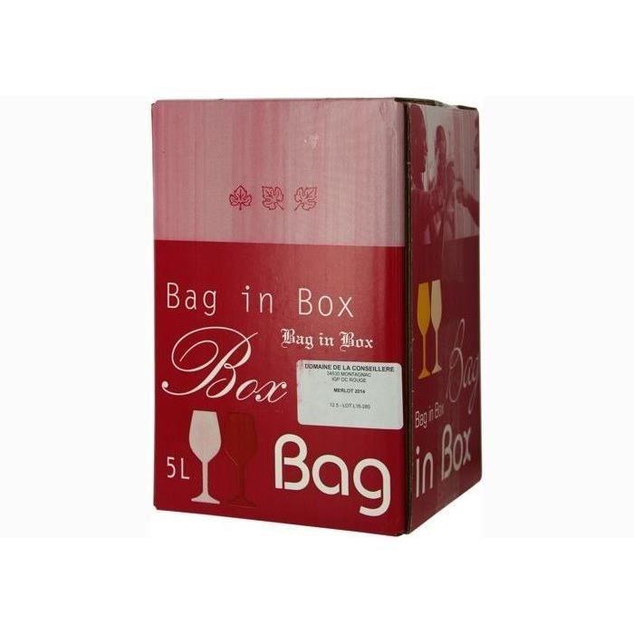 1 bouteille - Vin rouge - Tranquille - Domaine de la Conseillère BIB MERLOT 5 L (L19/333ME05) Rouge 2017 1x500cl