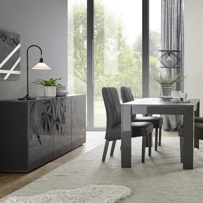 Salle à manger gris laqué buffet 3 portes + table 180 design NINO 2 L 180 x P 90 x H 79 cm Gris