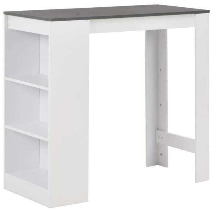 -2679PRIME Table de Bar Haute 2 à 4 personnes Table de Comptoir-Table de Bar Extérieur-Mange-debout Cuisine avec étagère Blanc 110x5