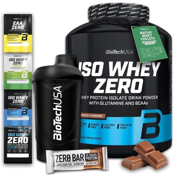 Biotech Iso Whey Zero Chocolat + Shaker + Barre Protéinée + 4x Enchantillon