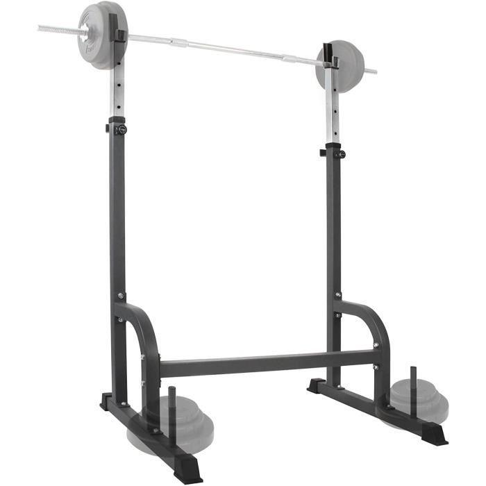 Physionics® Support pour Barre de Musculation - Charge Max. 200 kg, Réglable en Hauteur, en Acier, Noir - Repose Barre, Haltères70