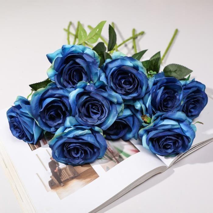 yumai 10pcs - Lot Roses de couleurs dégradées Fleurs Bouquets artificiels, Fleurs séchées et artificielles - Bleu