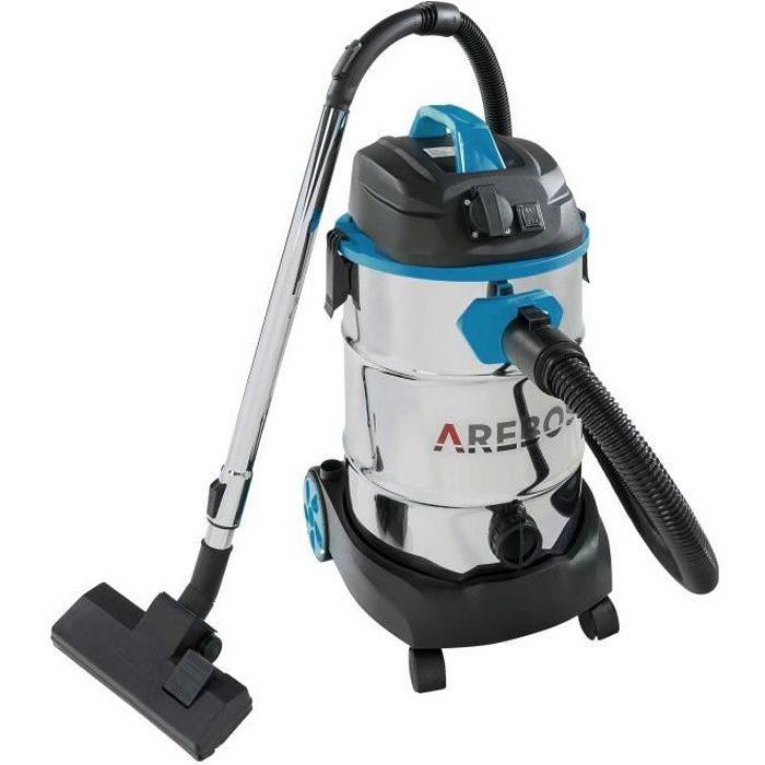 Arebos Aspirateur industriel 1600 W - Aspirateur à eau et à sec - Aspirateur industriel avec et sans sac - Réservoir de 30 l - Bleu