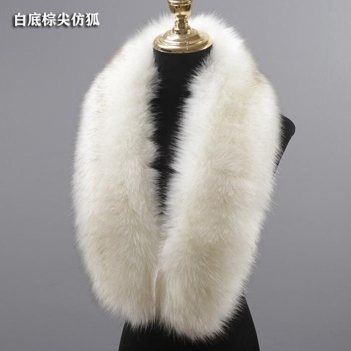 Echarpe,Vestes à col en fausse fourrure pour hommes et femmes,nouveau Style écharpe en fourrure de - Type white with brown - 50cm
