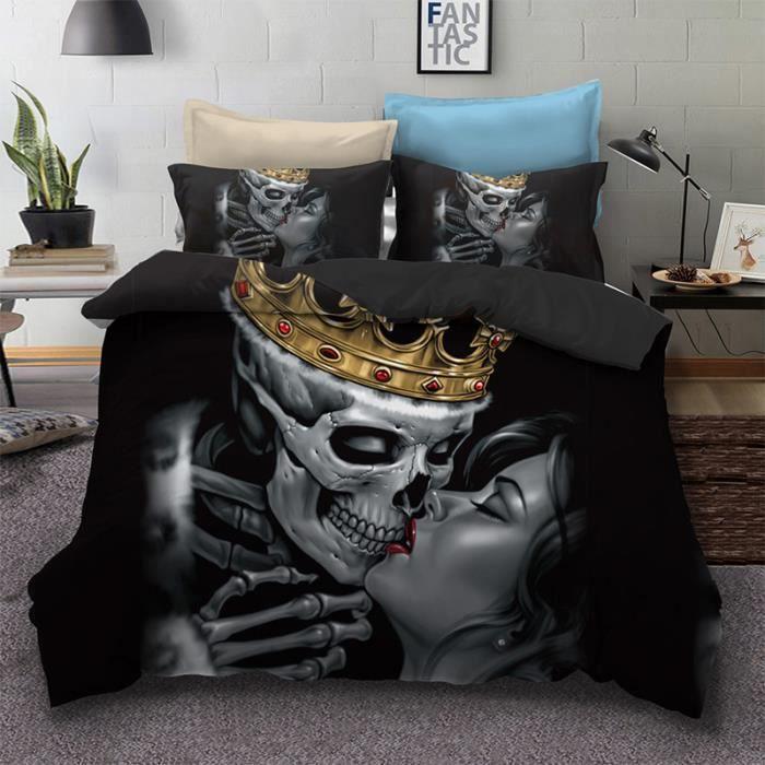 Tête de mort Parure de lit 3 pièces de Marque -1 Housse de Couette 228*228 cm+ 2 taies d'oreiller 50*75cm stlye 8