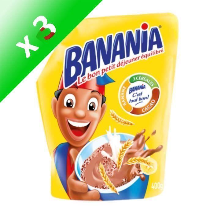 BANANIA Chocolat en poudre 3 céréales 1kg (Lot de 3)