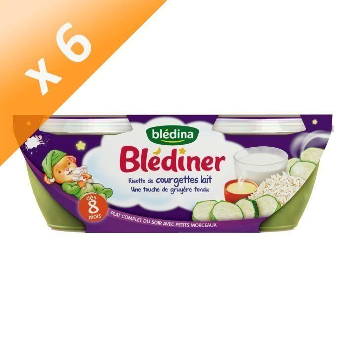 Lot de 6 - BLEDINA Blédîner Risotto de courgettes lait gruyère fondu 2x200 g - Dès 8 mois