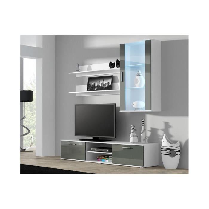 Ensemble meuble TV design SANO 5 - blanc et gris