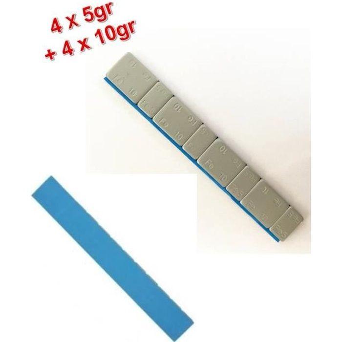 Lot de 100 Barrettes de Plombs Adhésifs Equilibrage Roue Jante Alu 4x5g + 4x10g