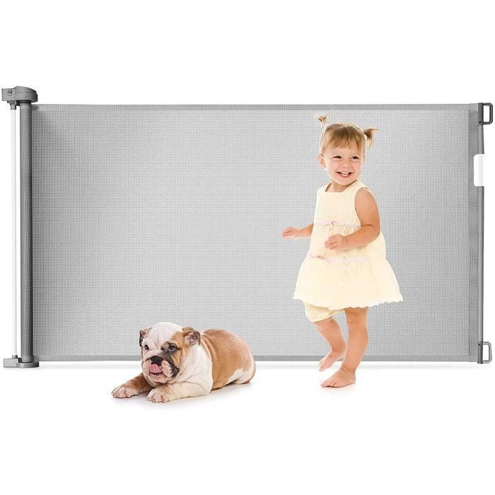 GOPLUS Barrière de Sécurité Rétractable pour Bébés,Animaux Domestiques,Portes d'Escalier Extensible de 0 à 130CM,pour Salon,Gris