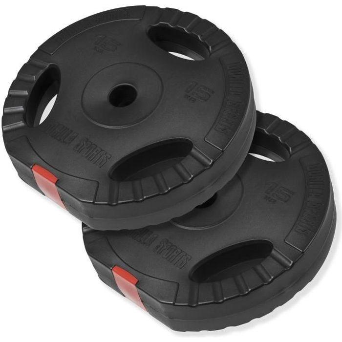 Gorilla Sports - Lot de disques en plastique grip de 30kg (2 x 15kg)
