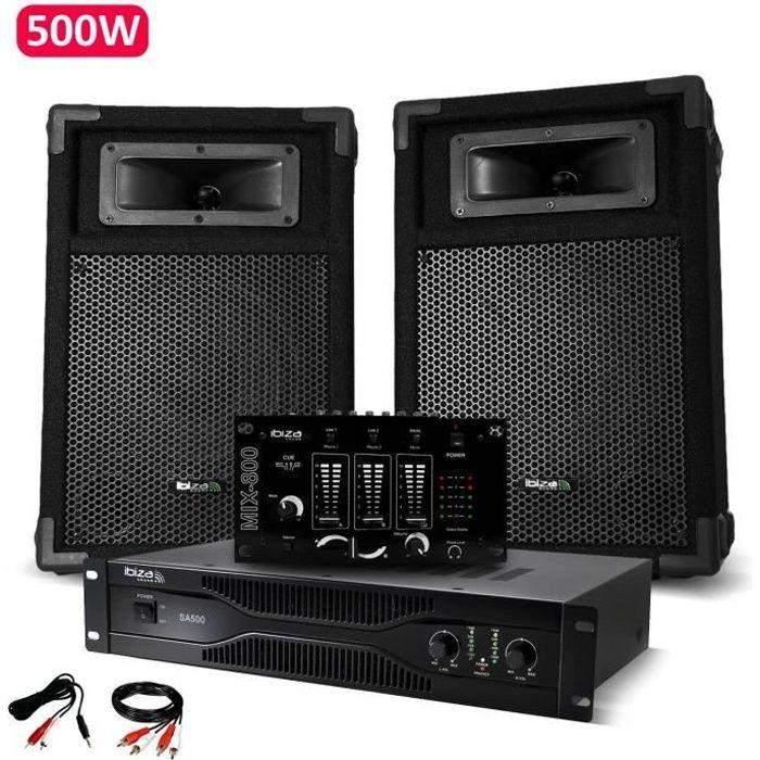Pack Sono Dj IBIZA découverte 2 Enceintes + Amplificateur 500W + Table de mixage + Câblages complet