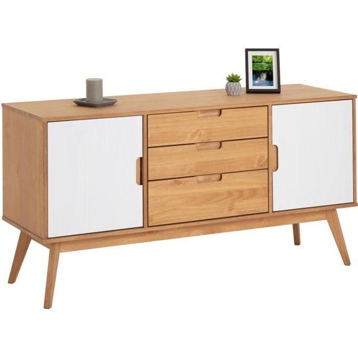 Buffet TIVOLI design vintage scandinave nordique commode bahut vaisselier 3 tiroirs 2 portes, pin massif finition bois teinté/blanc