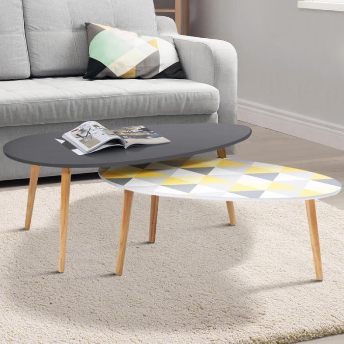 ID MARKET - Lot de 2 tables basses gigognes GIGI laquées gris motifs blanc jaune gris