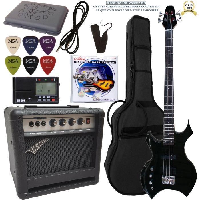 Pack Basse électrique heavy noire gaucher Ampli 30W 7 Accessoires