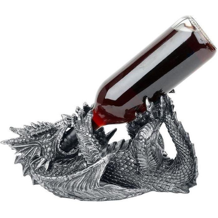 Porte-bouteille de vin -Dragon Guzzler- en argent métallique 32 cm