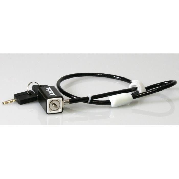 Câble de sécurité à câble métallique avec serrure à clé pour PC Portable (Longueur: 1.8m) - PORT CONNECT